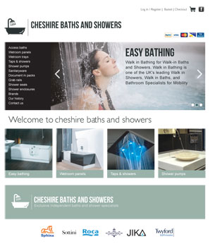 eCommerce website for cheshire baths and showers