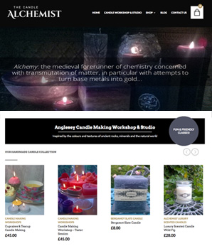 the candle alchemist website design
