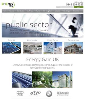 energygain renewable energy website design