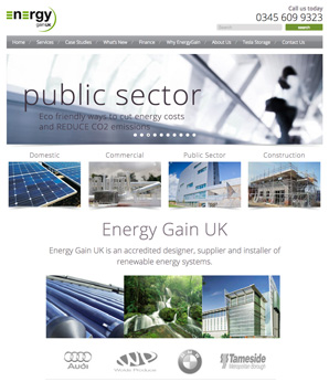 energygain renewable energy website design