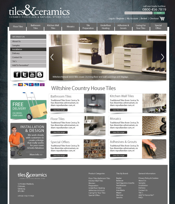 Ecommerce website designers stockport thinlinecreative for Web design tile layout