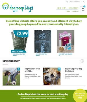 website design dog poop bags eCommerce