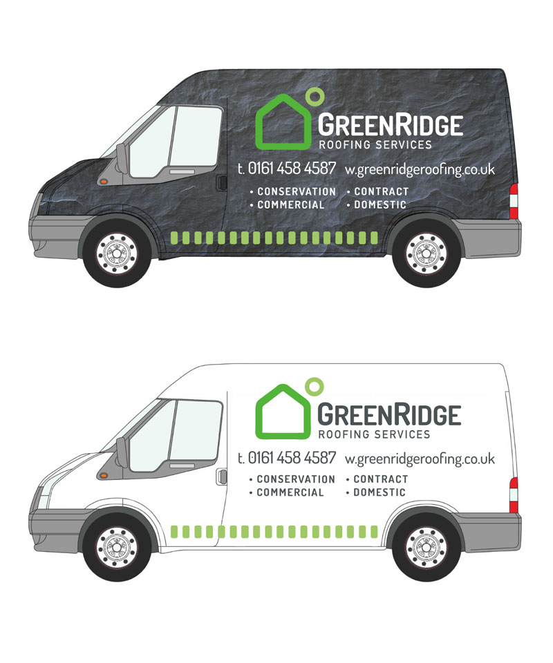 brand design for grenridgeroofing van & truck